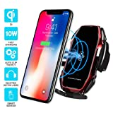 Wireless car Charger,EERIE A5 Smart Sensor Wireless Car Charger Mount,QI 10W Automatic Clamping Fast Charging Holder Compatible with iPhone Xs/Xs Max/XR/X/8/8 Plus,Samsung Note 9/ S9/ S9+/S8 (Red) . (Color: A5-Red)