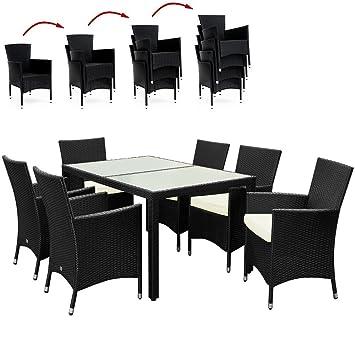 Salon de jardin 13 pieces - Plateau en verre dépoli - chaises empilables - Noir