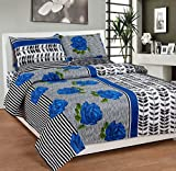 Soni Traders Floral Print Polycotton Double Bedsheet With 2 Pillow Covers (BST_119, Blue)