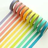 Uclever Decorative Washi Tape DIY Rainbow Sticker Masking Paper Set 10 Rolls (0.3 inch W x 16.4ft L)