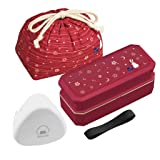 Japanese Traditional Rabbit Blossom Bento Box Set with Giant Onigiri Box, Microwave-safe, Dishwasher-safe, Chopsticks, Bento Bag, Red (Shokado Bento) (Color: Red, Tamaño: Shokado Bento)