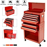 8-Drawer Rolling Tool Chest,Big Tool Chest and Tool Storage Cabinet,Tool Chest with 4 Wheels,Removable Portable Top Box with Lock Tool Chest for Garage and Warehouse-Cool Red (Color: Cool Red)