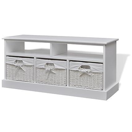 vidaXL Cómoda tipo de almacenamiento de color blanca modelo Aarau hecha de material MDF