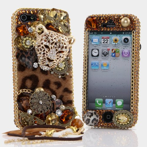 Special Sale Luxury Bling iphone 5 5S Case Cover Faceplate 3D Swarovski Leopard Cheetah Crystal Diamond Design with detachable phone charm (100% Handcrafted by BlingAngels)