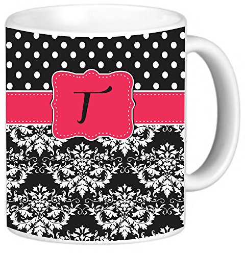 "Rikki Knighttm Rikki Knight Initial ""T"" Pink Black Damask Dots Monogrammed Design 11 Oz Photo Quality Ceramic Coffee Mug Cup - Fda Approved - Dishwasher And Microwave Safe"