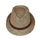 EOZY 無地子供用中折れ帽子 つば広ハット 麦わら帽子 ベルト付き 吸汗通気 UVカット 紫外線防止 夏お出かけ旅行通学