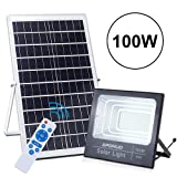 100W Solar Flood Light Street Flood Lights, APONUO 196 LED 5000 Lumens Outdoor IP67 Waterproof with Remote Control Sensing Auto On/Off for Yard, Garden, Billboard, Swimming Pool, Basketball Court (Color: Cool White)
