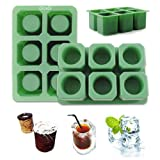 2 Pack Silicone Ice Shot Glass Mold, 6 Cups Square Green Ice Cube Tray, Jelly Tray, Cake Cup Mold, Food Grade Silicone Ice Shot - Green (Color: Green)
