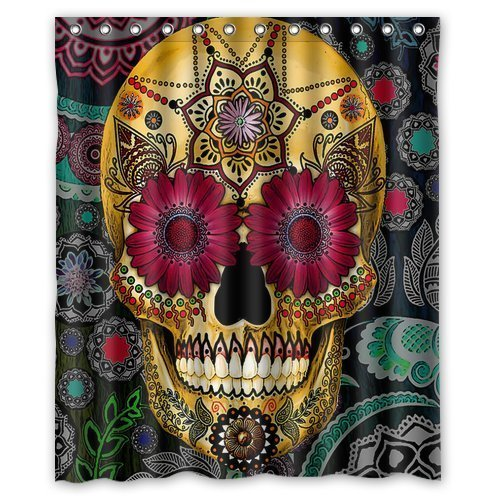 Shower Curtains Flowers Sugar Skull Shower Curtains