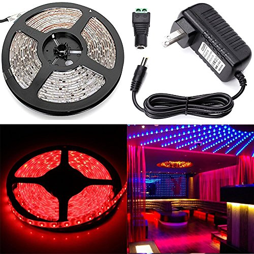 ELlight 3528 SMD Flexible Lighting 16.5FT 5M 300Led Red Light Strip,12v 2A Power Supply Adapter, Full Accessories Included, Waterproof,Xmas Decorative LED Tape (Led Tape Power Supply compare prices)