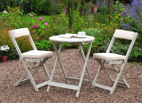 Greenhurst Solid Acacia 2 Seater Patio Set With Round Bistro Table In  Antique White And Matching