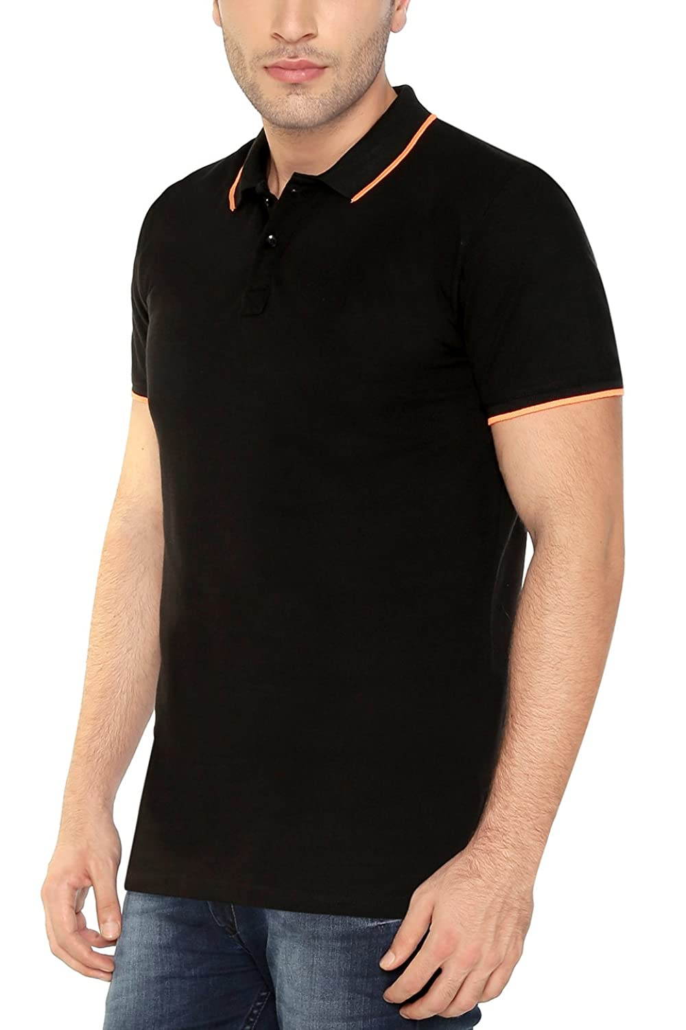 Black t shirt collar - The Cotton Company Men S Contrast Tipped Collar Polo T Shirt Black Amazon In Clothing Accessories