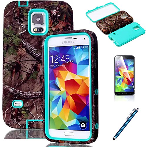 Galaxy S5 Case - EC3 Layers Design Real Tree Camo Hybrid Hard Soft Combo Shock-Absorption Bumper Back Case Cover Protector for Samsung Galaxy S5 i9600 Verizon - ATT - T-Mobile - Sprint - International Unlocked Green