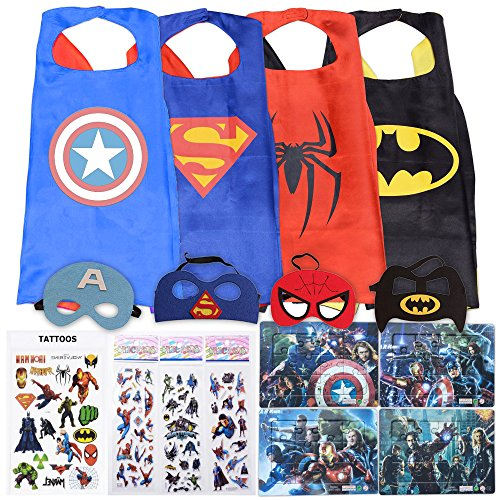 Superhero Cape and Mask Costumes for Kids ThemeCo Original Dress Up SET- 4 Satin Capes, 4 Masks, Stickers, Tattoos and Puzzles