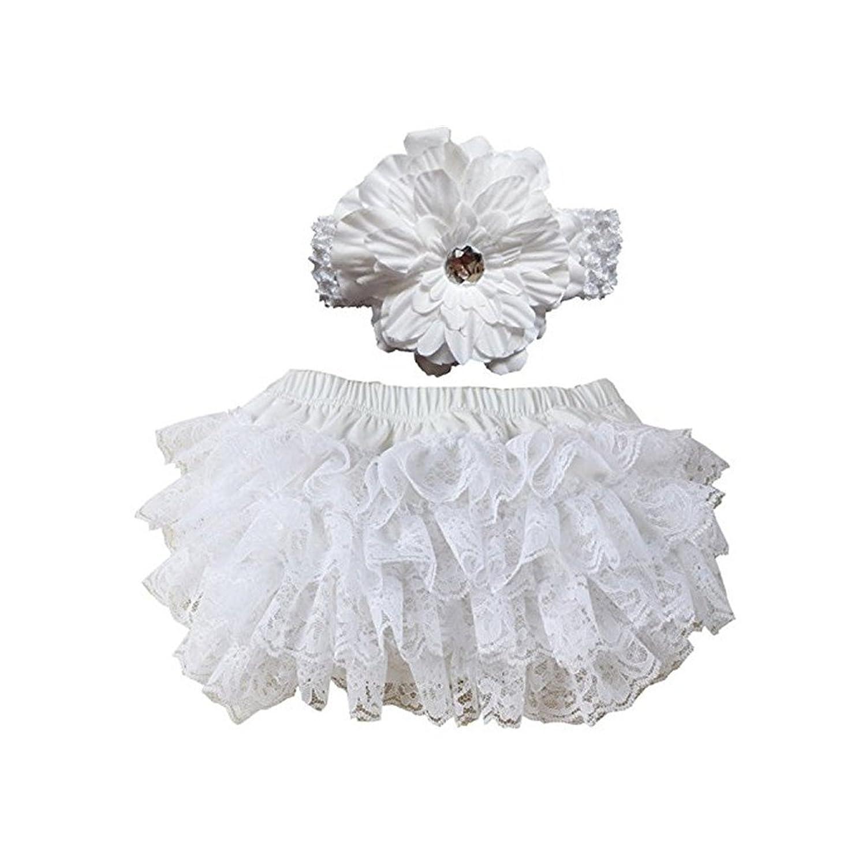 EQLEF® Nette und weiche Spitze Rüsche-Pflanze-Windel-Abdeckungen Stirnband für Baby Set (weiß) günstig