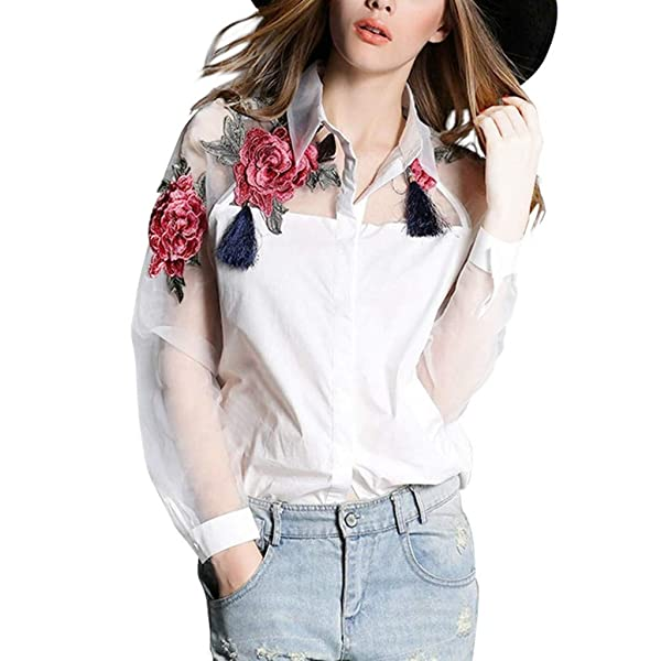 79f466a0b4 Women's Sexy Embroidery Floral Blouse, Casual Long Sleeve Round Neck Mesh  Button Tee T-Shirt ...