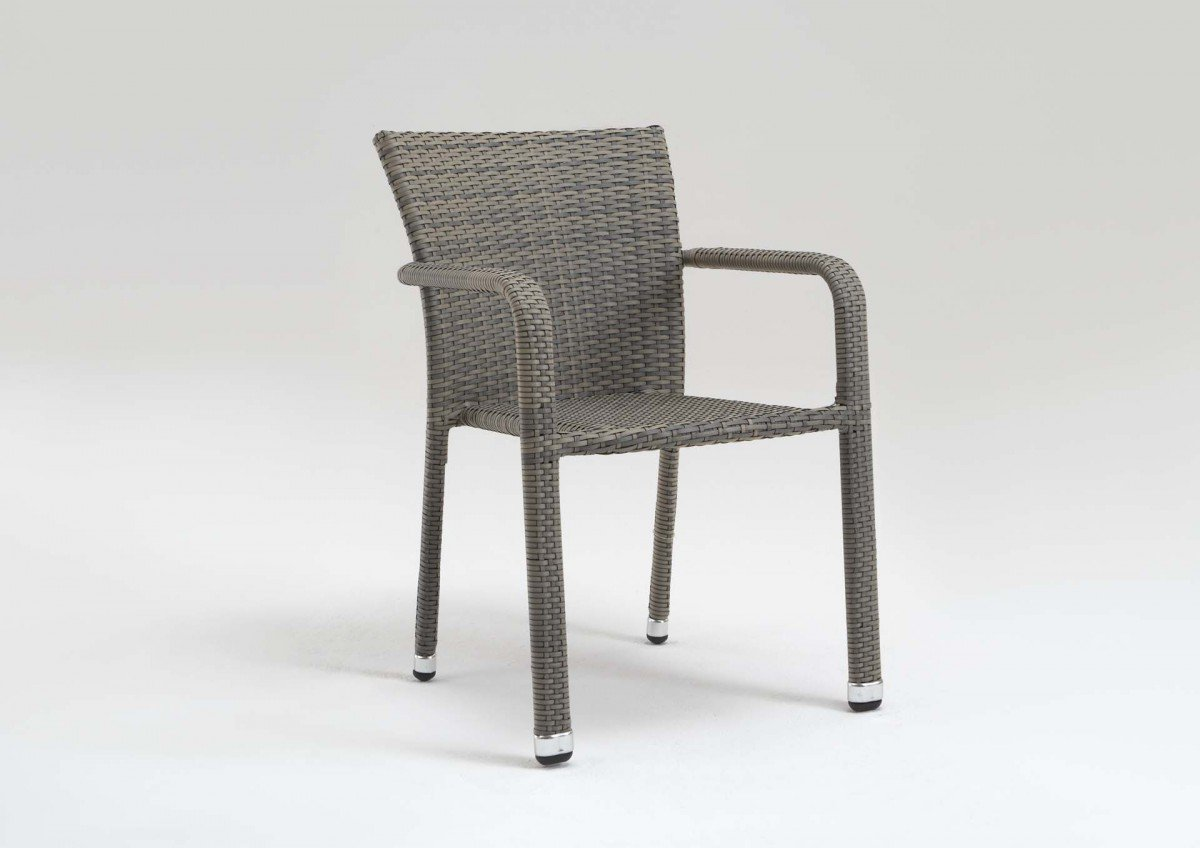 Stapelsessel 'Yoko' Rattan beige grau braun Stapelstuhl stapelbar Gartenstuhl Stuhl Sessel , Farbe:Beige