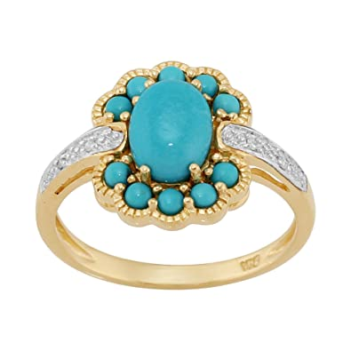 9ct Yellow Gold 1.24ct Natural Turquoise & 1.6pt Diamond Cluster Ring