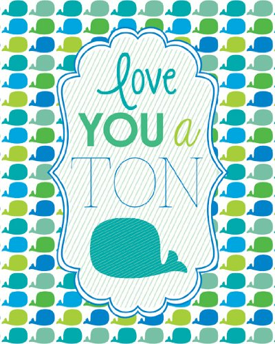 "Lucy Darling Love You a Ton Whale Print Wall Decor, 8"" x 10"""
