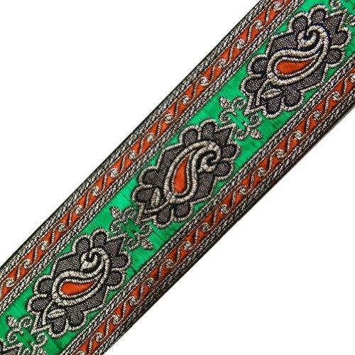 Wide Orange Green Paisley Weaving Jacquard Ribbon Trim Sewing Border Lace Craft 3 Yd