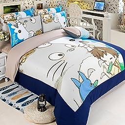 MeMoreCool New Arrival!Japanese Anime My Neighbor Totoro Cartoon 4 Pieces Bedding Set 100% Cotton Cute Totoro Duvet Cover Set Kids Bedding Set Anime Bed Sheets