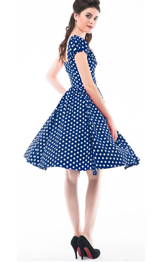 Betty Rose Women's Vintage Style Polka Dot Cap Sleeve Flare Dresses(size 2-18 ) 1