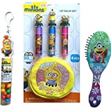 Childrens Beauty Kit Minions Lip Balm Set 4 Pcs With Pouch And Lip Balms, Minions Tube Topper, And Minions Comb...