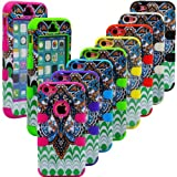 myLife Electric Blue + Colorful Abstract Paisleys 3 Layer (Hybrid Flex Gel) Grip Case for New Apple iPhone 5C Touch Phone (External 2 Piece Full Body Defender Armor Rubberized Shell + Internal Gel Fit Silicone Flex Protector)
