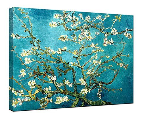 Wieco Art Canvas Print for Van Gogh Oil Paintings Reproduction Almond Blossom Modern Canvas Wall Art for Wall Decor 12 by 16inch XH-3040