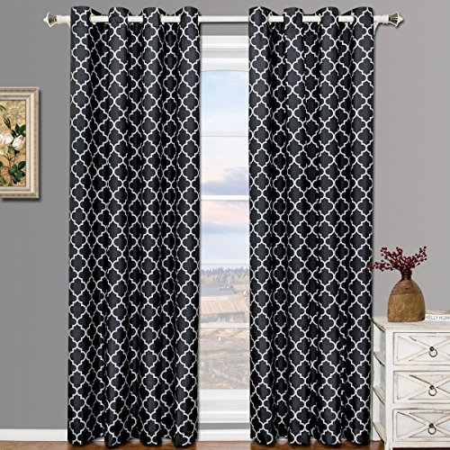 Meridian Black and Gray Grommet Blackout Window Curtain Drapes, Pair / Set of 2 Panels, 52x84 inches Each, by Royal Hotel (Royal Hotel Drapes compare prices)