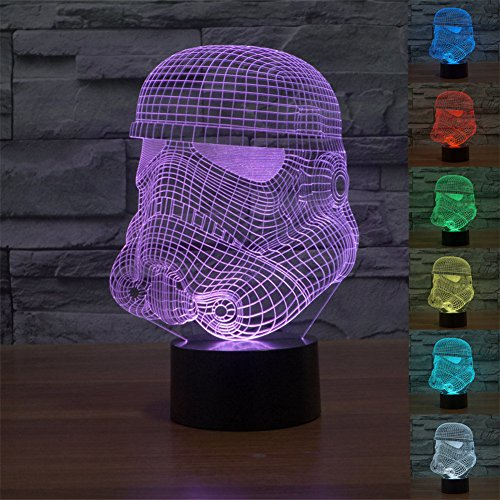 SmartEra® 3D Many Star Wars Clone Trooper Panel Model Night 7 Color Change USB Touch button LED Desk Table Light Lamp
