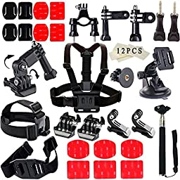 Soft Digits Accessories Bundle Kit for GoPro Hero 5/4/3/2/1 Action Camera Accessory Set for Ourdoor Sports in Swimming Diving Rowing Climbing Bike Riding(31 Items)