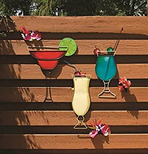 Metal tropical mixed drink plaques cocktail for Bar decor amazon