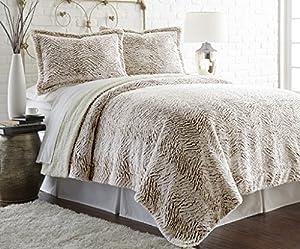 Faux fur/Sherpa 3 piece comforter set Chocolate King