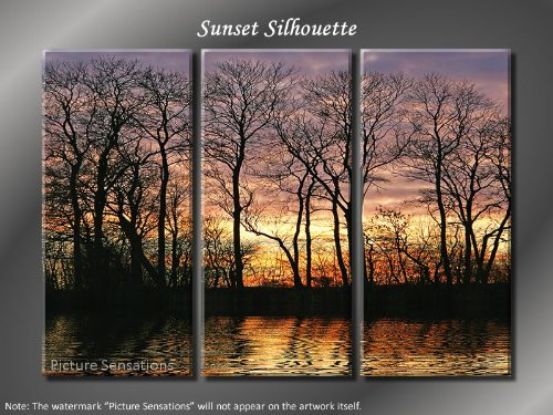 Framed Huge 3 Panel Modern Art Sunset Silhouette Giclee Canvas Print