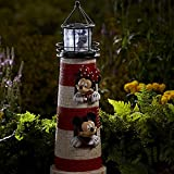 Disney Outdoor Decor Mickey and Minnie Mouse Ligthouse with Led Light Solar Charged