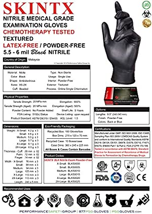 SKINTX BLK50015-L-BX Nitrile Medical Grade Examination Gloves, 5 mil - 5.5 mil, Powder-Free, Textured, Chemotherapy Tested, Latex-Free, Non Sterile, Large, Black (Pack of 100)