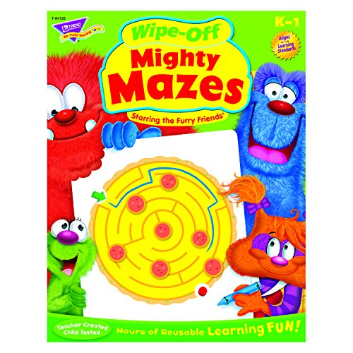 Trend Enterprises Mighty Mazes Furry Friends Wipe-Off Book