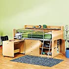 Charleston Storage Loft Bed with Desk, Natural