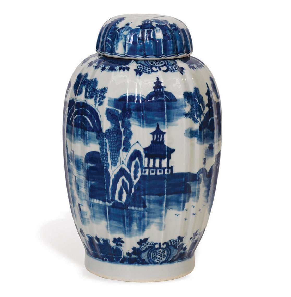 Summer Palace Chinese Hand Painted Blue White Ginger Jar