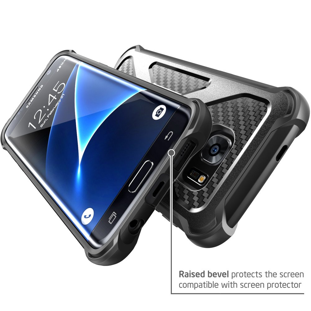Galaxy S7 Edge Case, i-Blason Prime [Kickstand] Samsung Galaxy S7 Edge 2016 Release [Heavy Duty] [Dual Layer] Combo Holster Cover case with [Locking Belt Swivel Clip] (Black)