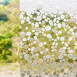Coavas 3d View Frosted Decorative Stained Privacy Glass Window Film,static Cling Uv Frosted Scrub Removable Sticker,90*200