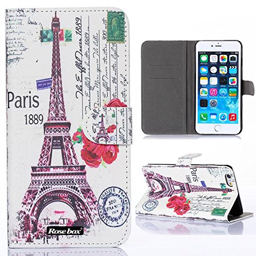RoseBox® IPhone 6 Plus Case Apple iPhone 6 Plus Case 5.5 Inch Leather Case Elegant Design Printed Color pattern Series Flip Case Cover Slim Wallet Cover lus Stand Feature + Credit Card Holder Slots Fit For Apple iPhone 6 Plus 5.5 Inch(IPhone 6 case) (Eiffel Tower Retro style 4)