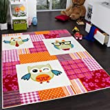 Kids' Rug - Trendy - Owls - Multicoloured Magenta Cream, Size:80x150 cm