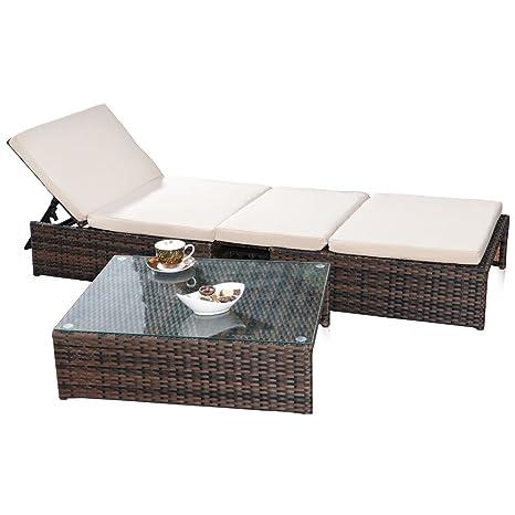 Gartengarnitur Sitzgruppe 2er Sessel und Tisch aus Polyrattan in braun