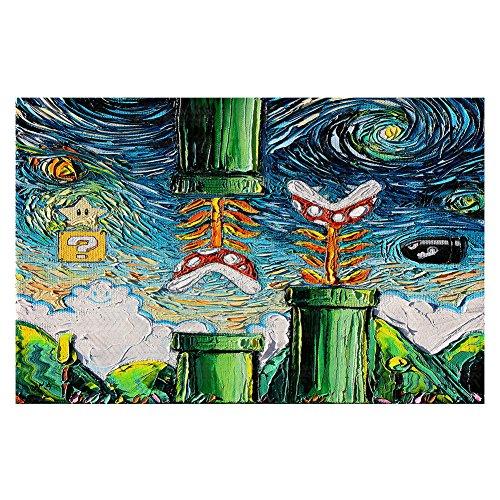Area Rug, Kitchen Mat, Bath Mat with Chevron Weave Unique, Decorative, Stylish from DiaNoche by Aja Ann – van Gogh Super Mario Bros