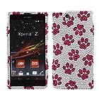 Fincibo (TM) Sony Xperia Z Ultra Togari C6802 C6806 C6833 Bling Crystal Full Rhinestones Diamond Case Protector - Hot Pink Dog Paw