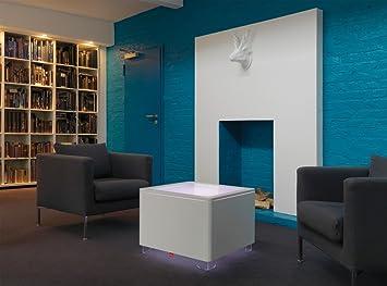 Mesa de centro de colour de ORA: de colour blanco y acabado mate, Propiedades: la iluminación y el cargador de batería