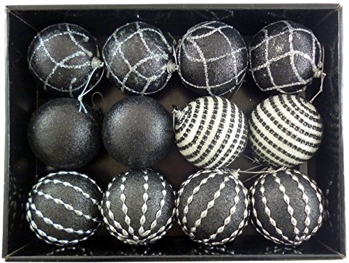 Black & White Bauble Set Of 12 by Christmas Shop