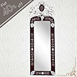 IndianShelf Handmade Vintage Decorative New Design Clear Glass Wood And Iron Long Venetian Mirror 46.5 Inches...